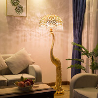 创意孔雀灯豪华客厅卧室书房酒店会所水晶落地灯家居装饰欧式灯饰