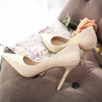 香槟色婚鞋浅色蕾丝真皮尖头细跟白色高跟鞋女拍婚纱照新娘伴娘鞋