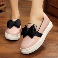 新款秋季复古蝴蝶结浅口坡跟单鞋女防水台高跟时尚女鞋