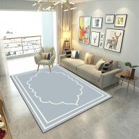 现代风格几何图案北欧地毯客厅沙发茶几卧室满铺长方形家用可水洗 WWS-01 浅灰色底色