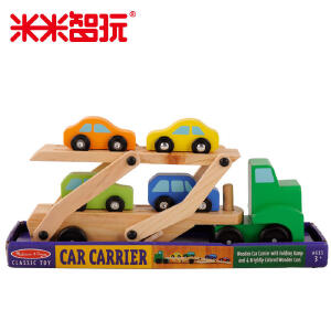 【领券立减50元】米米智玩 儿童玩具车益智男孩木制汽车模型卡车工程车木质双层运输车 进口木材打造活动专属
