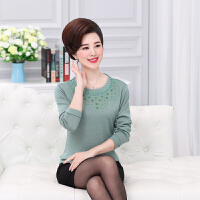 50中老年女装毛衣春秋打底衫45岁妈妈穿的秋装长袖上衣薄中年针织