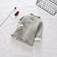 女童秋冬童装加绒字母T恤刺绣打底衫 儿童T恤 179806