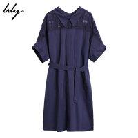 【2件4折到手价:311.6元】 Lily秋新款女装纯色格纹透视系腰带短袖连衣裙119300C7642