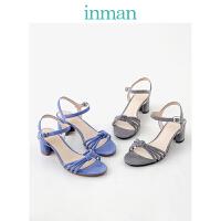 茵曼女鞋夏凉鞋缕空高跟鞋粗跟凉鞋配裙子的鞋度假罗马鞋
