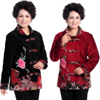 中老年人女装春秋唐装绣花外套60-70岁妈妈装翻领薄上衣奶奶装80
