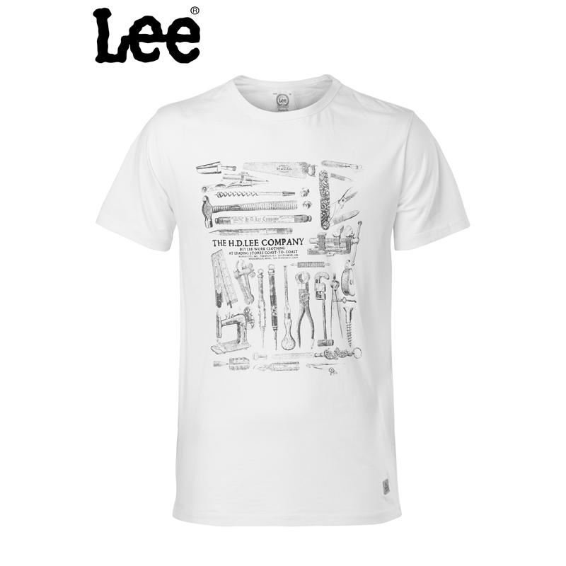 【书香节 跨店每满200减100】Lee 【断码】专柜正品男款白色印花短袖透气T恤L10986J06W00