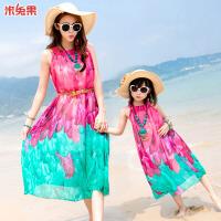沙滩裙亲子装母女连衣裙夏季海边度假海滩长裙2018