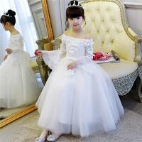 儿童礼服公主裙女童晚礼服白色长袖婚纱蓬蓬裙主持人演出服花童女