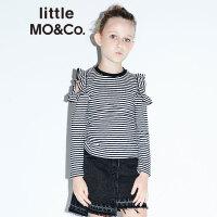 littlemoco女童T恤经典黑白条纹镂空荷叶边上衣针织长袖圆领T恤