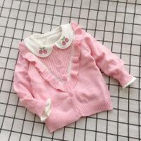 童装春季宝宝针织衫1-3岁开衫女童学院风荷叶边毛衣外套薄款公主