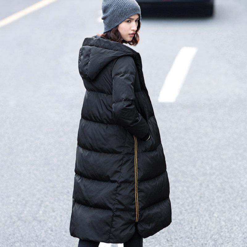 Amii[极简主义]2017年冬装新款90绒修身长过膝加厚羽绒服女装宽松_黑色,175/96A/XXL