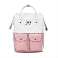 学生背包女双肩包休闲旅游包简约时尚电脑包书包女韩版潮d 粉色