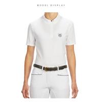 户外运动女士竞赛POLO 纯白色棉质运动短袖 马术立领