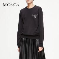 MOCO2019春字母印花圆领套头无帽宽松黑色卫衣女MAI1SWS020摩安珂