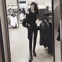 黑色打底衫毛衣女短款修身长袖秋冬百搭针织新款挂脖上衣漏肩