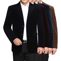 秋冬季中老年男装西服男修身款休闲西装灯芯绒爸爸装男士西服外套