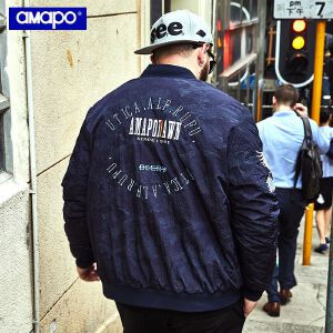 【限时抢购到手价:180元】AMAPO潮牌大码男装潮胖子加肥加大码宽松嘻哈短款棉衣外套男夹克