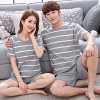 韩版情侣睡衣女夏季纯棉短袖可爱甜美全棉薄款两件套装男士家居服