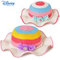 迪士尼儿童白雪公主帽子太阳帽女童遮阳帽小孩草帽沙滩帽6DN040S