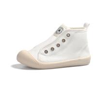 儿童高帮帆布鞋女童小白鞋秋冬板鞋宝宝幼儿园室内鞋