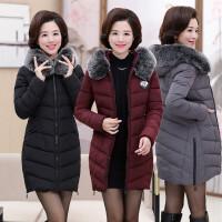 妈妈装冬装棉衣毛领中年40岁50女中长款大码中老年人女装外套