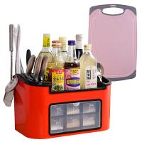 多功能厨房收纳置物架调料架小麦砧板组合装调味料调料盒菜板套装
