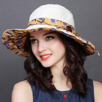 可折叠太阳帽子女夏韩版遮阳帽出游度假休闲户外渔夫帽防晒帽盆帽