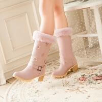 彼艾2016韩版秋冬长靴粗跟骑士靴皮带扣侧拉链防滑甜美圆头长筒靴女靴