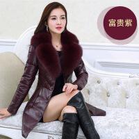 冬装新款皮草中老年妈妈装修身显瘦中年女皮衣羽绒外套中长款