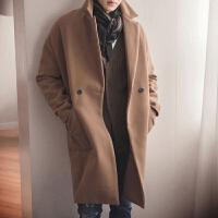 秋冬季男士双面呢大衣中长款风衣韩版宽松妮子青年毛呢外套加厚潮 2X