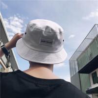韩版夏季新款男士百搭时尚渔夫盆帽子简约刺绣贴标遮阳防晒帽潮流 白色贴标 均码 合适 L(58-60cm)