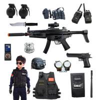 儿童电动玩具枪套装 cos小军人MP5男孩特警仿真道具 新年生日礼物