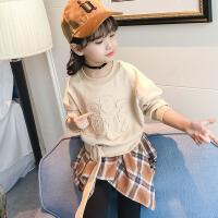 女童春秋装2018新款时尚韩版卫衣假两件套5-13岁儿童潮洋气上衣服
