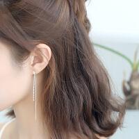 银耳环韩国气质长款吊坠星星流苏简约个性百搭耳饰品网红耳坠女 一对