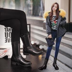 【满200减100】【毅雅】时尚休闲平底低跟高筒靴子女鞋靴子女GM5PR6934