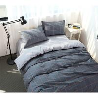 全棉四件套简约条纹格子纯棉床单被套床笠宿舍床上三件套1.8m 1.2m(4英尺)床