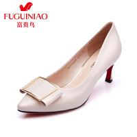 富贵鸟夏季新款女鞋 单鞋工作鞋女黑色 尖头高跟鞋细跟 浅口单女鞋
