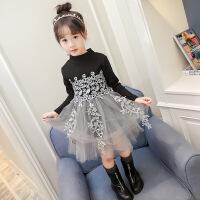 女童毛衣裙加厚4冬装5韩版6长袖8儿童针织连衣裙春冬拼接7黑色9岁
