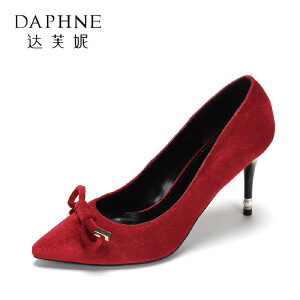 【达芙妮超品日 2件3折】达芙妮集团  性感尖头单鞋潮流绒面蝴蝶结高跟鞋