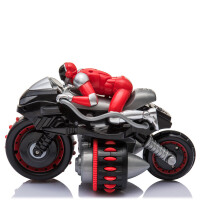 儿童遥控车玩具充电翻斗车电动高速漂移翻滚特技车大号摩托车无线 黑红
