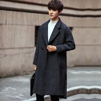 秋冬季男士毛呢大衣韩版修身风衣男中长款加厚呢子外套潮男装衣服 灰色 M