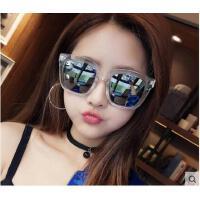 韩版大透明框方形墨镜太阳镜女偏光 新款太阳眼镜户外遮阳镜炫彩反光膜镜片