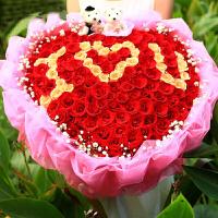 ????喜迎中秋国庆七夕情人节19朵只红粉白香槟玫瑰长礼盒合肥瑶海鲜花速递 喜迎国庆 1