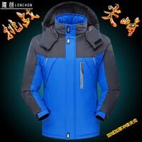 冬季男装加厚加绒防风衣外套中年保暖棉袄子休闲夹克爸爸装工作服 蓝色 A022