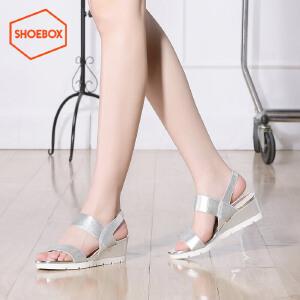 达芙妮旗下SHOEBOX/鞋柜新夏季时尚中跟女鞋简约平底休闲坡跟凉鞋