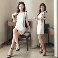 背带无袖型时尚潮流个性短款连衣裙年春季直筒型 米白色