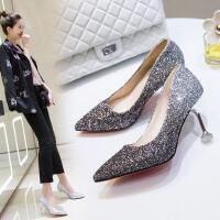 户外婚鞋女时尚女鞋伴娘鞋韩版细跟高跟鞋尖头韩版单鞋潮
