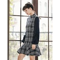 千鸟格子法式连衣裙冬季女装2019新款韩版气质泡泡袖鱼尾A字裙子
