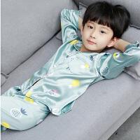 儿童睡衣男童长袖薄中大童男孩空调家居服套装